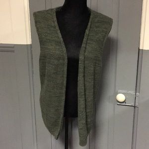 Christopher & Banks Green Open Front Sweater Vest